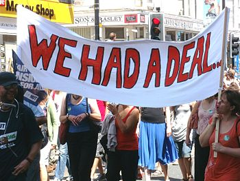 English: Protestors in Brighton on June 30 ove...