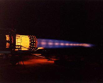 Shock diamond - A statically mounted Pratt & Whitney J58 engine on full afterburner while disposing of the last of the SR-71 fuel prior to program termination. The bright areas seen in the exhaust are known as shock diamonds.
