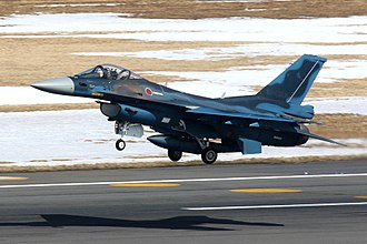 Fighter units of the Japan Air Self-Defense Force - An F-2 fighter taking off; three squadrons deploy them
