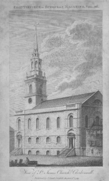 Frontispiece of The European Magazine, vol. 36, 1st August 1799 featuring St James Church, Clerkenwell