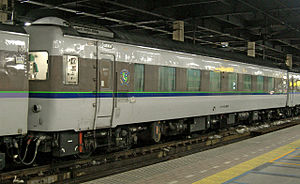 Okhotsk (train) - 14 series sleeping car in an Okhotsk formation at Sapporo station, March 2008