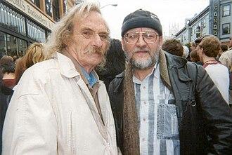 Jack Hirschman - Jack Hirschman with Polish American translator Janusz Zalewski at City Lights Bookstore Beats Festival, San Francisco (2007)