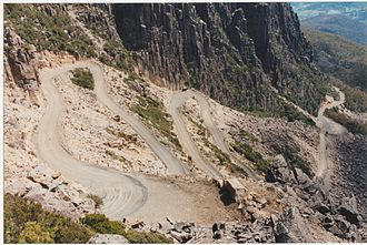 Ben Lomond (Tasmania) - Jacob's ladder single lane access road to Mount Ben Lomond in Tasmania Australia