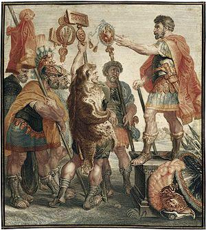 Publius Decius Mus (consul 340 BC) - Decius Mus reporting his dream on the battlefield, in a painting by Jacob Matthias Schmutzer (1733-1811)