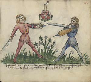 "Messer (weapon) - Fighting with a Messer and a ""Hungarian shield"" (Gladiatoria Fechtbuch fol. 55r, mid 15th century)"