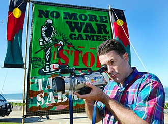 Peace journalism - Peace journalist Jake Lynch covering protests against joint US-Australia military exercises in Australia.