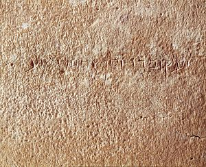 "James Ossuary - Close-up of the Aramaic inscription: ""Ya'akov bar Yosef akhui di Yeshua"" (""James, son of Joseph, brother of Jesus"")"
