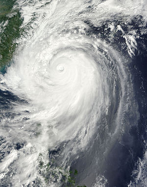 Typhoon Jangmi (2008) - Typhoon Jangmi approaching Taiwan on September 28