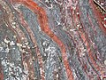 Jaspilite banded iron formation (Soudan Iron-Formation, Neoarchean, ~2.69 Ga; Stuntz Bay Road outcrop, Soudan Underground State Park, Soudan, Minnesota, USA) 54 (19219584522).jpg