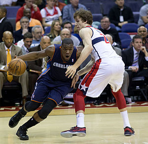 Jeff Adrien - Adrien (left) playing for the Bobcats