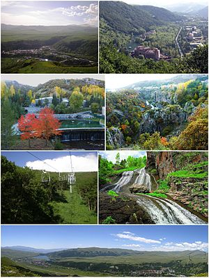 From top left: Jermuk skyline • Arpa RiverSpa resorts • Jermuk Forest SanctuaryJermuk cableway • Jermuk WaterfallPanoramic view of Jermuk