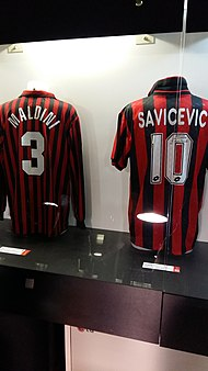 Maldini s number 3 Milan jersey (next to Dejan Savićević s number 10) in  the San Siro museum 32888ca12