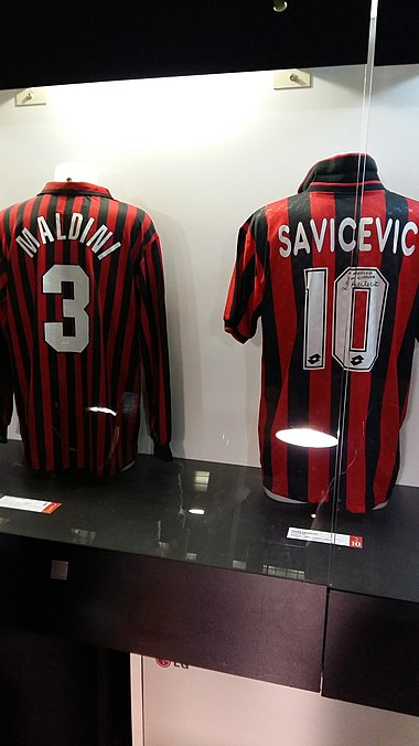 8f135b401 Maldini s number 3 Milan jersey (next to Dejan Savićević s number 10) in  the San Siro museum