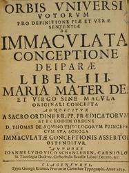 Johann Ludwig Schönleben: Latina: Orbis vniversi votorum pro definitione piae et verae sententiae de immaculata conceptione deiparae liber