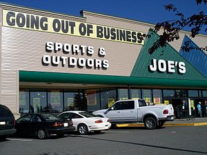 Business failure - Joe's was one of the businesses to fail in 2009.