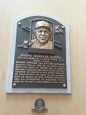Joe Sewell - Plaque of Joe Sewell at the Baseball Hall of Fame