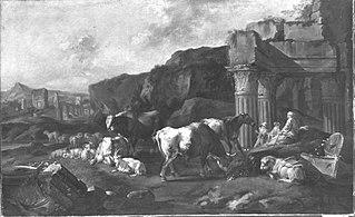 Italienische Landschaft mit Ruine des Vespasiantempels