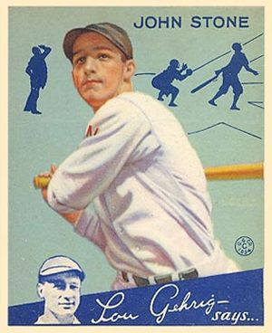 John Stone (baseball) - Stone on a 1934 Goudey baseball card.