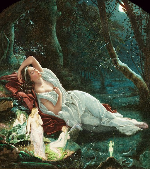 John Simmons - Titania sleeping in the moonlight protected by her fairies