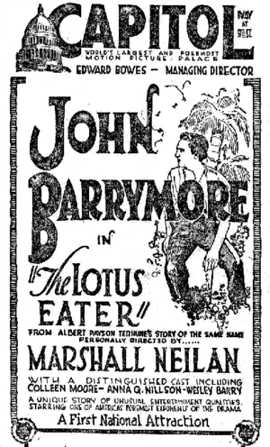 "Capitol Theatre (New York City) - Newspaper ad for the film The Lotus Eater (1921) at the Capitol, ""The world's largest and foremost motion picture palace"""