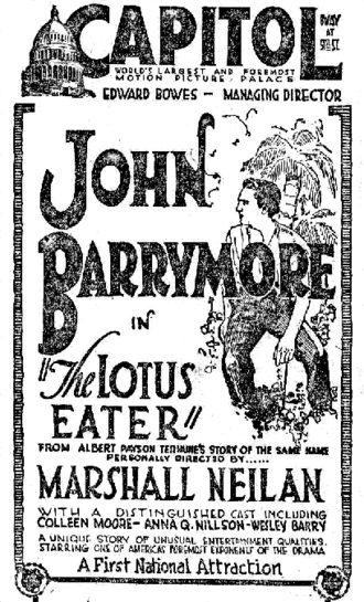 """Capitol Theatre (New York City) - Newspaper ad for the film The Lotus Eater (1921) at the Capitol, """"The world's largest and foremost motion picture palace"""""""