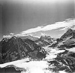 Johns Hopkins Glacier, tidewater glacier, hanging glaciers, aretes and mountain glaciers, August 23, 1976 (GLACIERS 5512).jpg