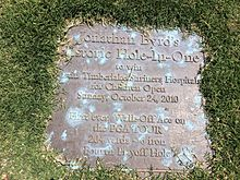 Plaque commemorating Jonathan Byrd's sudden-death playoff win at the Justin Timberlake Shriners Hospitals for Children Open on October 24, 2010