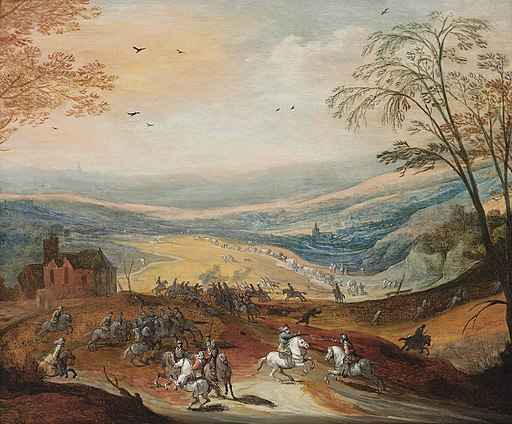 Joos de Momper II & Peter Snayers - A cavalry skirmish in a hilly landscape