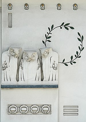 Vienna Secession - Jugendstil owls - Detail of the facade of the Viennese Secession Building. These designs for the building's facade decoration are attributed to Koloman Moser.