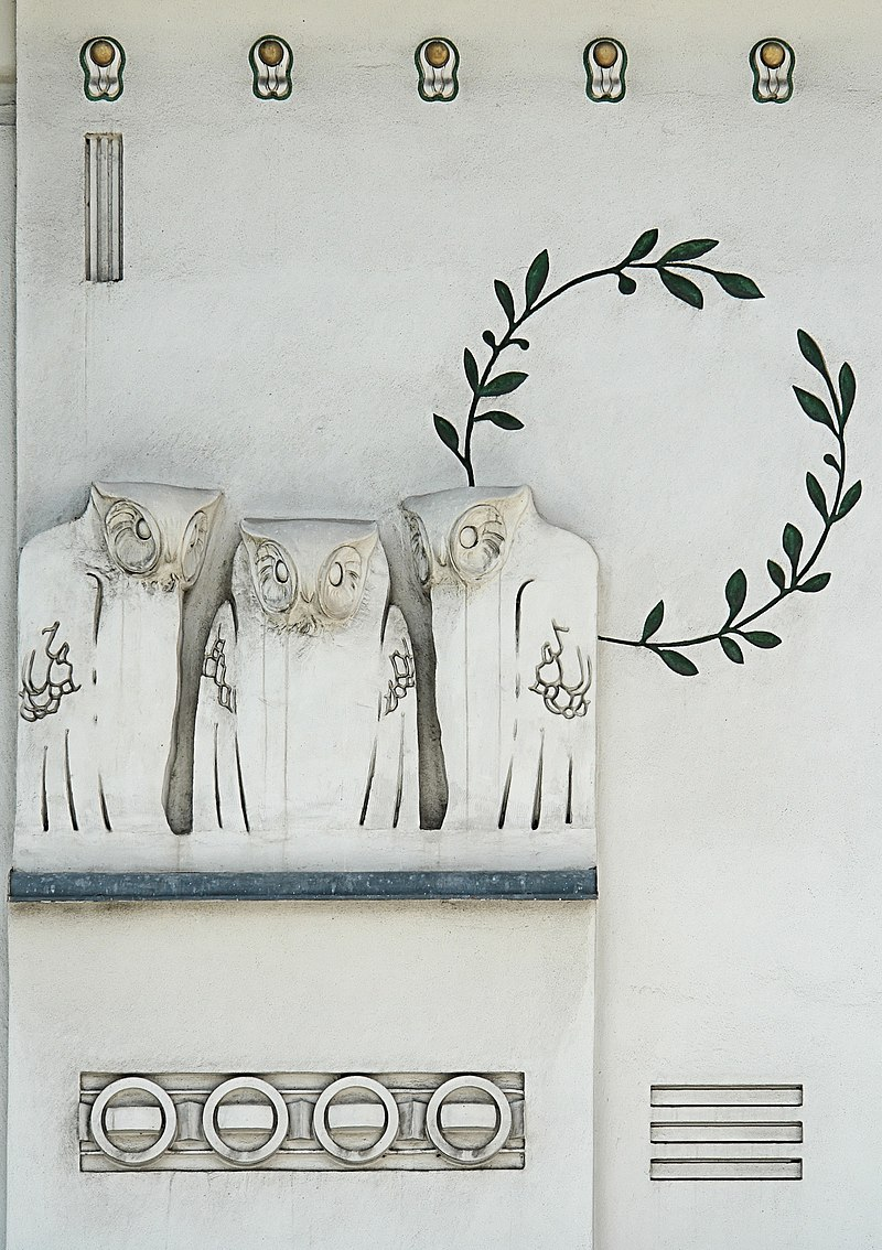 https://upload.wikimedia.org/wikipedia/commons/thumb/6/60/Jugendstil_owls_-_Koloman_Moser_-_Detail_facade_of_Secession_Building_-_Vienna.jpg/800px-Jugendstil_owls_-_Koloman_Moser_-_Detail_facade_of_Secession_Building_-_Vienna.jpg