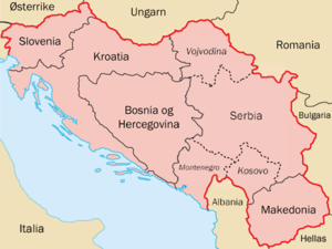 Map over Yugoslavia before the split with norw...