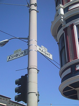 Summer of Love - Junction of Haight and Ashbury Streets, San Francisco, celebrated as the central location of the Summer of Love
