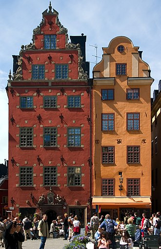 Gamla stan - Iconic buildings surrounding the square Stortorget.