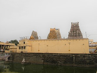 Kamakshi Amman Temple - Kamakshi Amman Temple with the golden overlays over its gopurams.