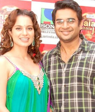 Kangana Ranaut - Ranaut with co-star R. Madhavan at a promotional event for Tanu Weds Manu, 2011
