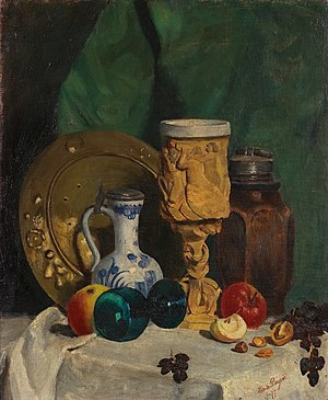 Karin Bergöö Larsson - Still Life with Fruit and Tankard, 1877 painting by Karin Bergöö