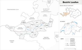 Karte von Bezirk Laufen