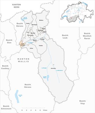 Saint-Léonard, Switzerland - Image: Karte Gemeinde Saint Léonard 2009