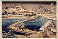 Katsushika hokusai, il ponte di barche a sano, nella provincia di kosuke (serie vedute eccezionali di ponti da tutte le procince), 1827-1830 ca.jpg