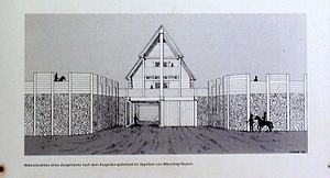 Pincer gate - Artist's impression of a pincer gate (information board at the Oppidum Finsterlohr).