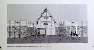 Pincer gate - Artist's impression of a pincer gate (information board at the Oppidum Finsterlohr).