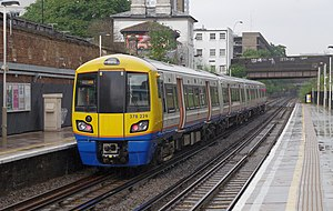 A London Overground class 378 train at Kilburn High Road station