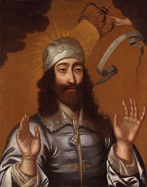 Divine right of kings - Charles I of England, with a divine hand moving his crown