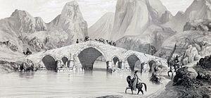 Kizil Hauzen Bridge by Eugène Flandin.jpg