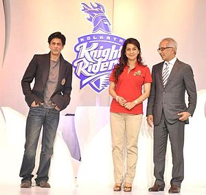 Red Chillies Entertainment - (L-R)Shahrukh Khan, Juhi Chawla and Jay Mehta co-owners of KKR.