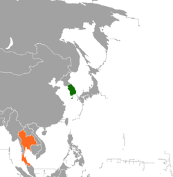 Map indicating locations of South Korea and Thailand