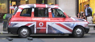 Vodafone UK - London Taxi with Vodafone livery