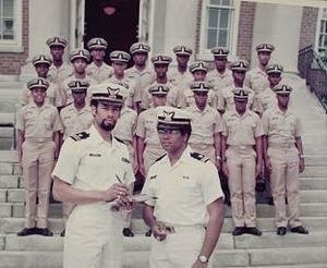 Black cadets at the United States Coast Guard Academy - LT Steverson '68 and LT(jg) Robert Thornton '72 with USCGA Class of 1978 minority cadets, 1974