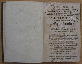 Jean-Baptiste de La Chapelle - 1776 German translation of the Traité de la construction du scaphandre, Varsow.