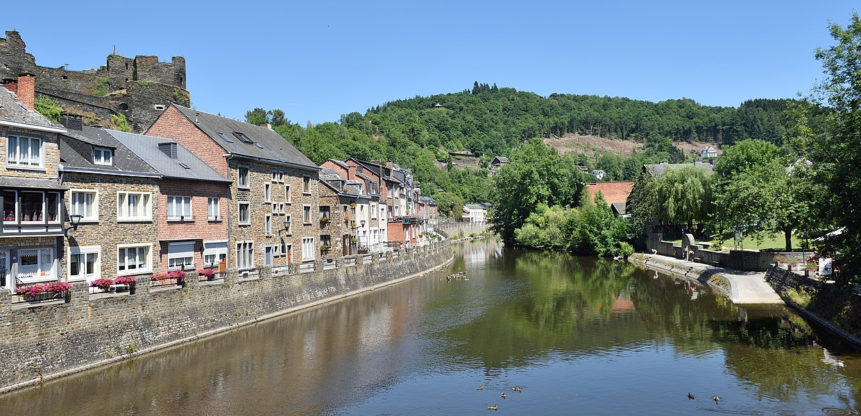 The river Ourthe in La Roche-en-Ardenne, upstream view.